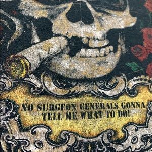 Vintage rock tee band shirt CCR smoking skull
